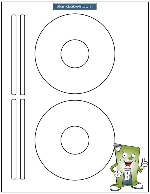 Espacio en blanco del Laser / Ink Jet etiquetas para CD o DVD. 50 hojas - Avery Template 5931, 8931, 8692. 100 etiquetas en blanco totales.