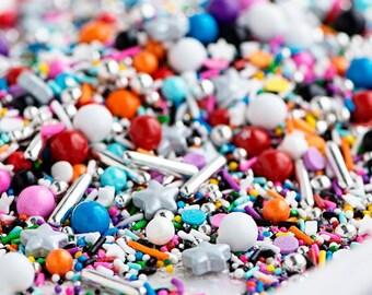 GLAM ROCK Twinkle Sprinkle Medley - 4 oz (1/2 cup) jar - Jimmies, Skinny Sprinkles, Canadian - Sweetapolita