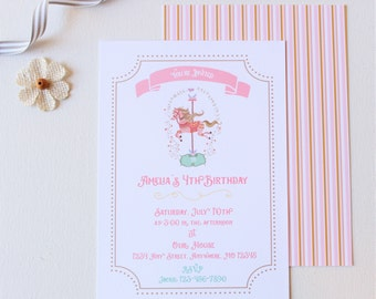 Carousel invitation Etsy
