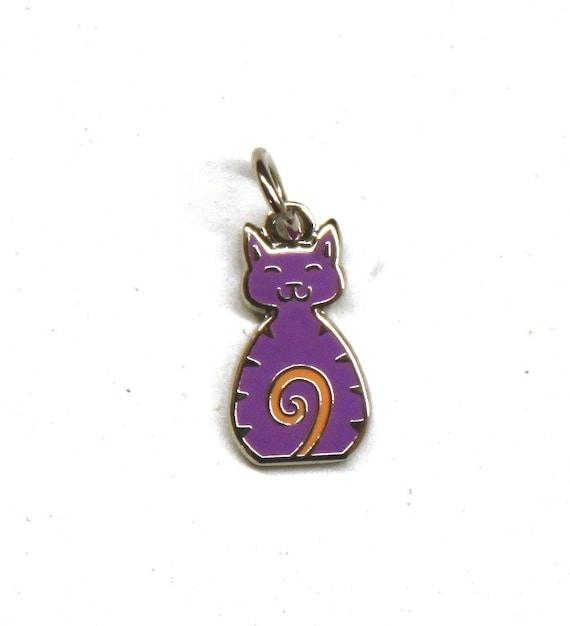 """Purple Cat 1/2"""" Enamel Charm"""