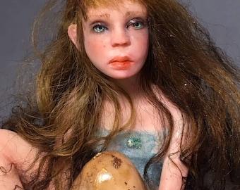 Fairy Nest, art doll sculpture, ooak doll