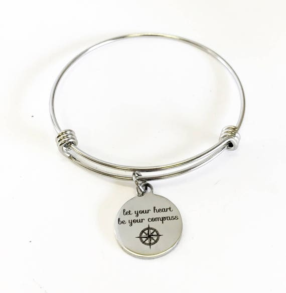 Let Your Heart Be Your Compass Stacking Expanding Bangle Charm Bracelet, Encouragement Gift For Daughter, Motivational Jewelry Gift for Her