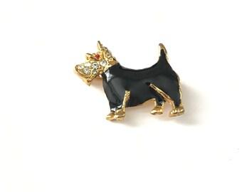 Vintage Gold Plated Black Enamel and Rhinestone Scottie Dog Brooch