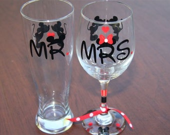 Mr. & Mrs. Disney Set Glassware, Disney Wedding, Engagement,  Anniversary, Bridal Shower Gifts, Disney Gifts, Wine/Beer Glass Set