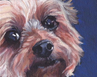 Yorkshire Terrier yorkie dog portrait CANVAS print of LA Shepard painting  11x14 dog art
