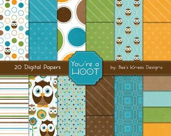 Owl Digital Paper Pack green orange brown turquoise baby boy - instant download
