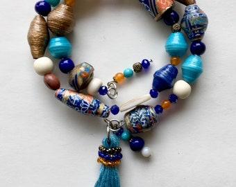 Mykanos - wrap around paper bead bracelet