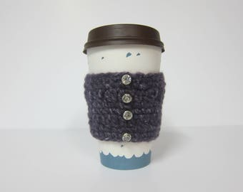 Coffee Cup Cozy, Rhinestone Cozy, To Go Cup Cozy, Crocheted Cup Sleeve, Cozy for Travel, Cozies for Coffee, Crochet Cozy, Purple Coffee Cozy