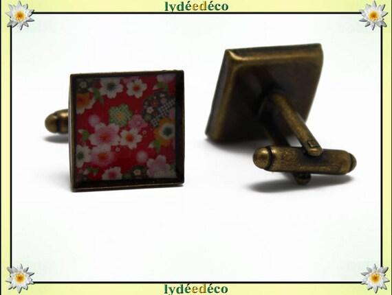 2 retro suit cuff links bronze 16mm resin flower sakura cherry tree red pink green white brass