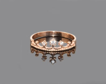 Crown ring, Rose gold ring, Anniversary ring, Promise ring gold, Anniversary gift, Gold crown ring, Victorian ring, Promise ring women