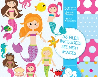 Mermaid clipart, commercial use, vector graphics, digital clip art, digital images, CL0011