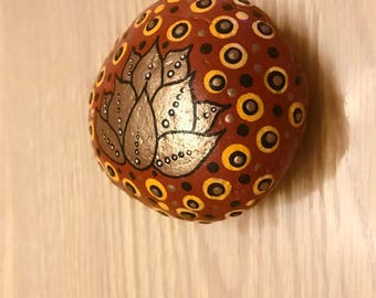 Orange Metallic Lotus Hand-painted Stone