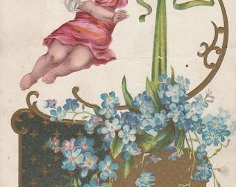 Valentine Cupid Card Shabby Chic Bohemian Antique Valentine 1910's Era