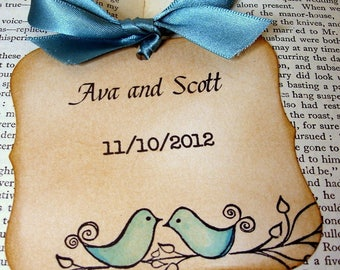 50 Love Birds Save The Date Magnet Tags