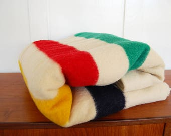 Vintage Hudson's Bay Point 3.5 Point 100% Wool Multi-Colored Striped Twin Size Blanket Made in England