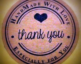 """Vintage """"Handmade with Love ~ Especially for you ~ Thank You"""" Kraft Stickers, Labels, Envelope Seals"""