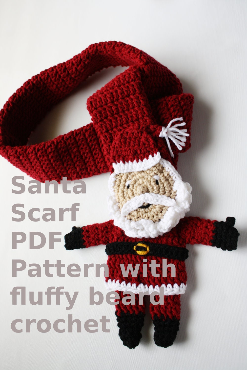 Instant download Santa Scarf with Fluffy Beard PDF PAttern