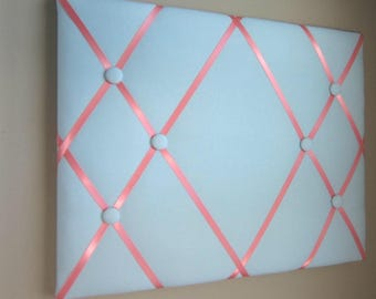 "16""x20"" Memory Board Bow Holder Ribbon Board Baby Blue & Coral, Photograph Holder, Business Card Holder, Vision Board, Memo Board, Ribbon"
