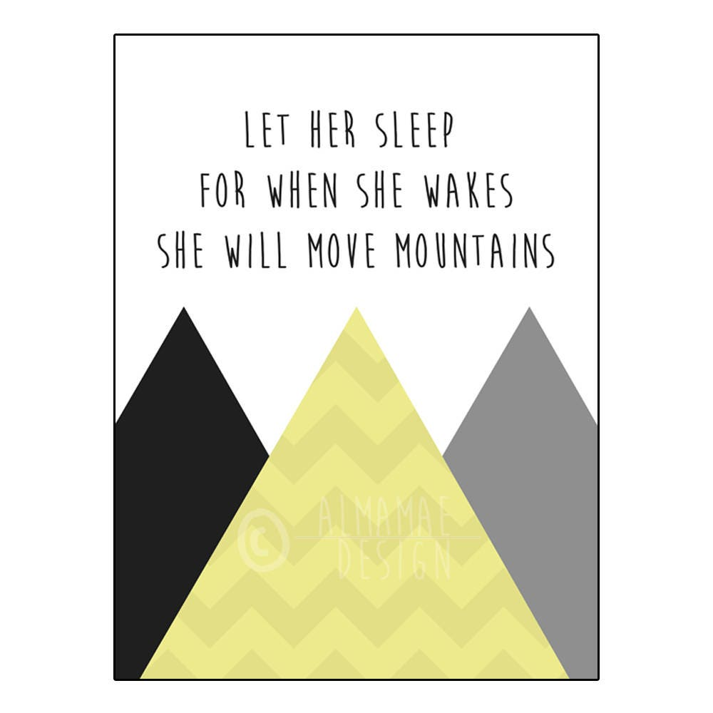 Yellow Nursery Art PRINTABLE Let Her Sleep for When She