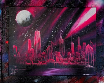 Magenda 2.0. New York Skyline. Spray Paint Art.