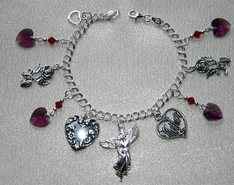 Sterling Silver Charm Bracelet .925 - Guardian Angel of Mothers