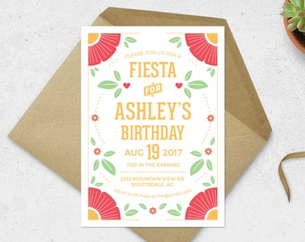 Fiesta Invitation - Mexican Fiesta Flower Invitation - Birthday Fiesta Invitation