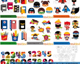 Superhero clip art big mega bundle - superhero school collection clipart - back to school clipart - digital download - commercial use