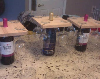 Wine glass and bottle caddy