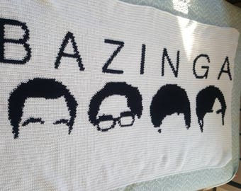 Bazinga afghan- Big bang theory inspired blanket - crochet -silhouette