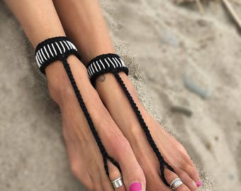 Cuff Style Barefoot Sandals. Available in various colors. Bohemian boho hippy shoes bottomless anklet feet jewelry