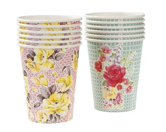 12 charm floral cups - spring party