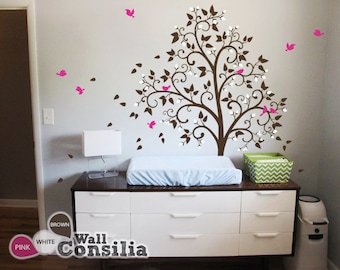 """Baby Nursery Wall Decals Blossom Tree Decal - Tree Wall Decals - Tree Wall Decal Birds wall decor mural sticker - Large: 85"""" x 56"""" - KC038"""
