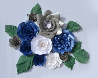 Set of 10 White, Blue and Silver paper flowers with green leaves for paper flower wall decoration, photobooth backdrop, home decor.