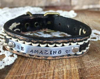 Leather BE AMAZING bracelet watchband adjustable rustic