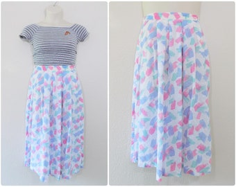 Vintage 80s White Pastel Midi Skirt