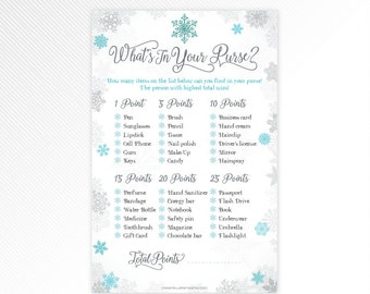 Blue glitter snowflakes baby it's cold outside, winter wonderland What's in your purse?, baby shower game printable - INSTANT DOWNLOAD
