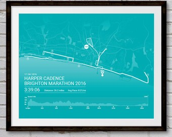 Brighton Personalised Marathon Poster / Memento / Gift / Art Print / Route / Map