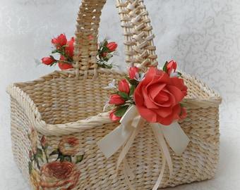 Girls easter basket Wicker basket with handle Storage basket Easter table runner Rustic basket Flower girl basket Easter egg basket