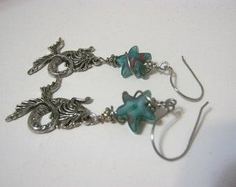 Mermaid/ Blue Glass/Star/Wire Wrapped  Earrings/ HandMade Ear wires