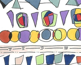 Colorful Abstract Print Illustration. Illustration with lines, circles and shapes (purple, yellow, green, blue, orange)