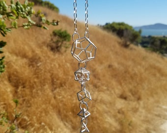 Platonic Solids 3D Sacred Geometry Statement Necklace in Recycled Sterling Silver