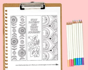 Coloring Bookmarks, Printable coloring page, Printable Bookmark, Complicated Colouring pages for adults, Instant download