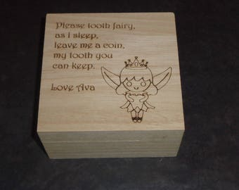 Personalised Engraved Tooth Fairy Wooden Box - Any Name
