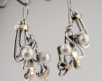 Long Pearl Earrings, Handmade 9K Yellow Gold 925 Silver Pearl Earrings, Gold Pearl Earrings, White Pearl Earrings, Wedding Jewelry (s e1755
