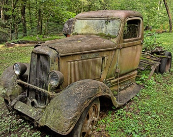 Old Abandoned Vintage Rusty Dodge Truck on a Farm in the Great Smoky Mountains in Tennessee No.0377 A Fine Art Landscape Photograph
