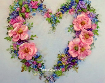 Floral heart ribbon embroidery for framing  pink roses embroidered panel  for luxury home silk picture ribbon work ribbon flowers .