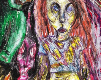 Monster Friends Art Print - Fantasy Lowbrow Outsider illustration - Colourful Artwork wall art modern weird Abstract - Demons - Cartoon