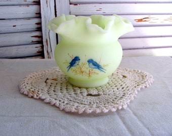 Fenton Satin Custard Art Glass Blue Bird Ruffled Vase signed J Andrick