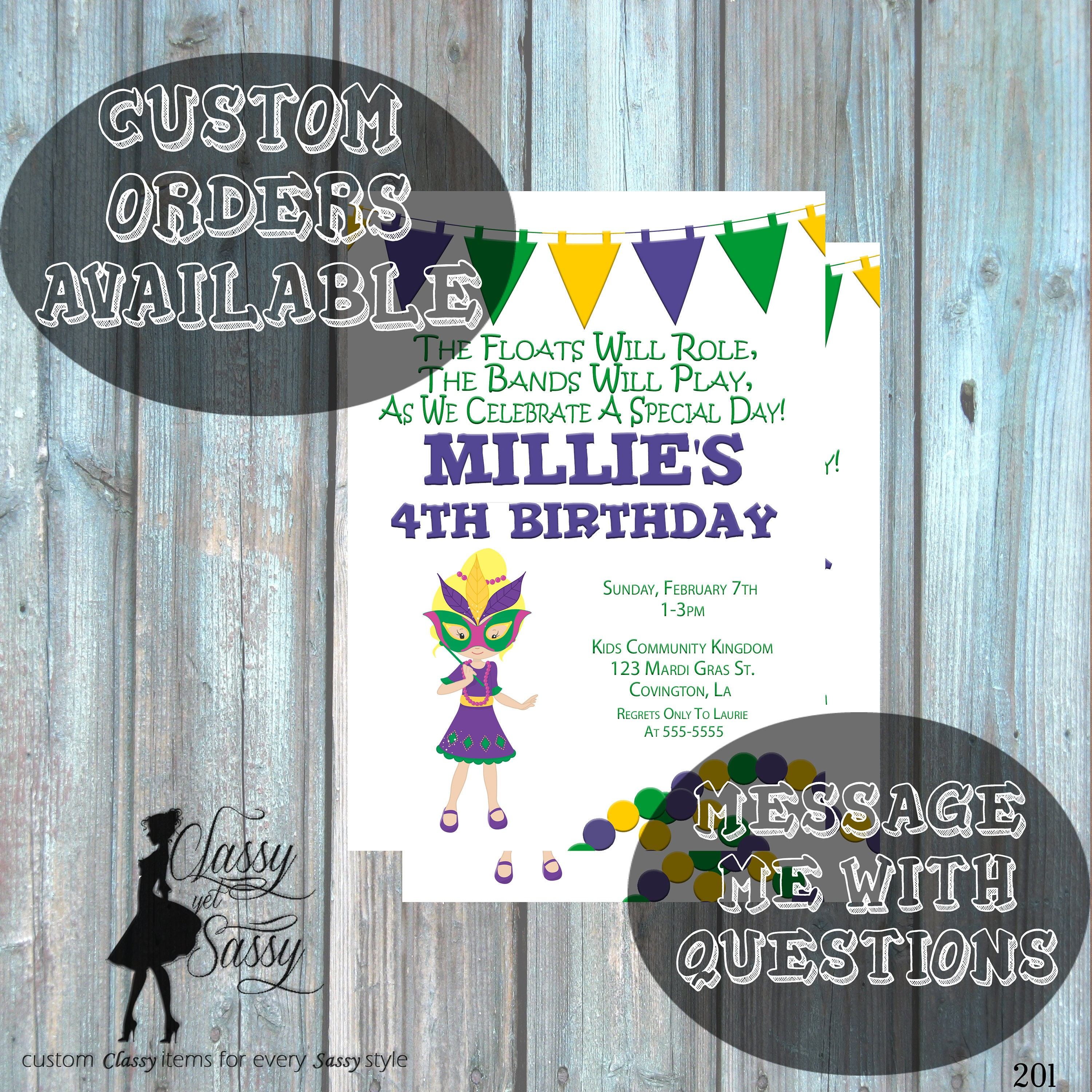 Mardi Gras Birthday Party Invitation, Mardi Gras Party, Parade party ...