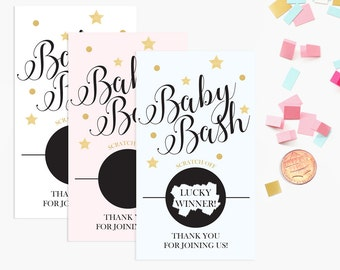 10 Pink, Blue, White Baby Shower Scratch Off Game Cards - Baby Shower Game